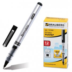 Ручка роллер BRAUBERG RLP002b, корпус серый, черные детали, толщ.письма 0,5 мм, 141555. черная