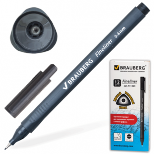 "Ручка капиллярная BRAUBERG ""Carbon"", супертонк. метал. нак. 0,4мм, трехгран. корпус, 141523, черный"