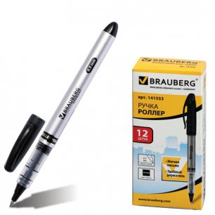"""Ручка роллер BRAUBERG """"Control"""", корпус серебристый, толщ.письма 0,5мм, 141553, черная"""