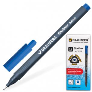 """Ручка капиллярная BRAUBERG """"Carbon"""", супертонк. метал. нак. 0,4мм, трехгранный корпус, 141522, синий"""