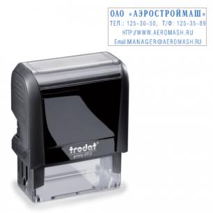 Оснастка для штампа оттиск 47*18мм синий, TRODAT 4912 P4, подушка в комплекте, корпус черный