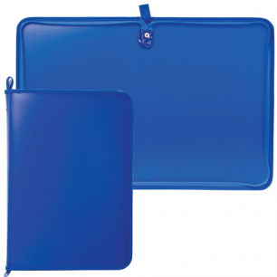 Папка на молнии пластиковая А4, матовая, синяя, размер 320*230мм, ПМ-А4-11/3 (ш/к-0231)