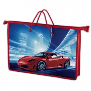 Папка-сумка BRAUBERG на молнии с веревочными ручками А4, пластик, мальч., Красный авто, 225501