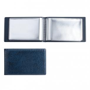 Визитница однорядная на 28 визитных, дисконтных или кредитных карт, синий, ДПС, 2054-101