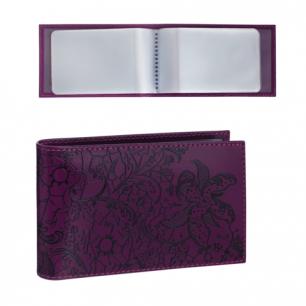 """Визитница карманная BEFLER """"Гипюр"""" на 40 визиток, натур. кожа, тиснение, фиолет, V.43.-1, ш/к-74179"""