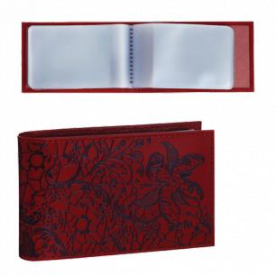 """Визитница карманная BEFLER """"Гипюр"""" на 40 визиток, натур. кожа, тиснение, красн, V.43.-1, ш/к-74186"""