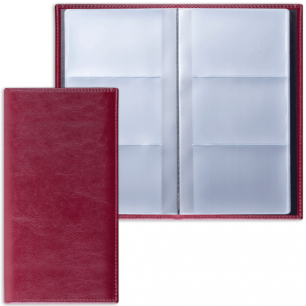 "Визитница трехрядная BRAUBERG ""Imperial"", под гладкую кожу, на 144 визитки, бордовая, 231662"