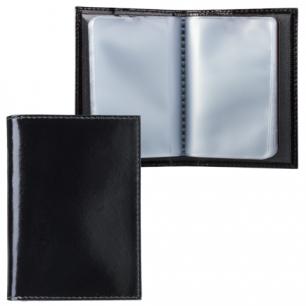 """Визитница карманная BEFLER """"Classic"""" на 40 визиток, натур. кожа, черная, V.32.-1, ш/к-10016"""