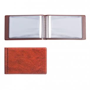 Визитница однорядная на 28 визитных, дисконтных или кредитных карт, коричневая, ДПС, 2054-104