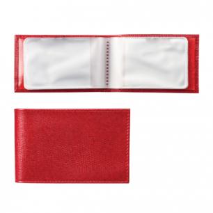 """Визитница карманная BEFLER """"Ящерица"""" на 40 визиток, натур. кожа, тиснение, красн, V.30.-3, ш/к-75572"""