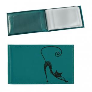 """Визитница карманная BEFLER """"Изящная кошка"""" на 40 визиток, натур.кожа, тиснен, бирюз, V.37.-1,ш/к-72755"""