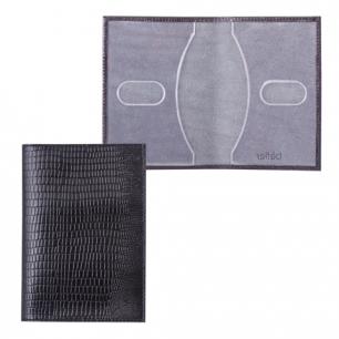 """Обложка для паспорта BEFLER натур. кожа, тиснение """"ящерица"""", тиснение вертик, черная, О.1-3,ш/к-75602"""
