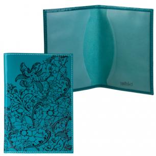 """Обложка для паспорта BEFLER натуральная кожа, тиснение """"гипюр"""", бирюзовая, О.32-1, ш/к-74193"""