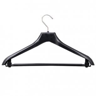 Вешалка-плечики универсальная, пластиковая, р. 46-48, длина 42см, ширина 3,0см, цвет черный, С 017