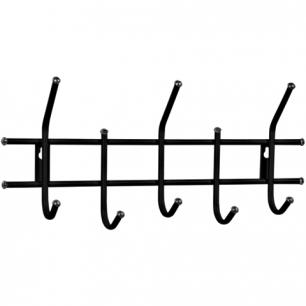 Вешалка настенная металлическая, 5 крючков (в280*ш600*г110мм)  Стандарт 2/5, цвет черный, шк 30592