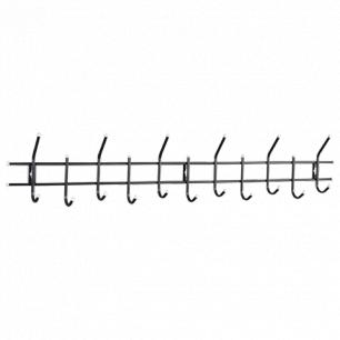 Вешалка настенная Стандарт 2/11 (в260*ш1180*г110мм), 11 крючков, металл черный, шк 09579