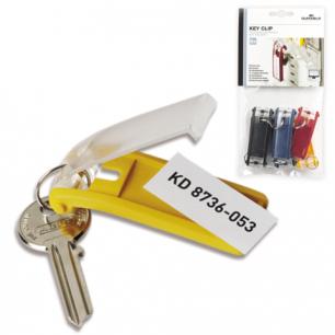 Брелоки для ключей DURABLE (Германия), КОМПЛЕКТ 6шт., инфо-окно 40*18мм, ассорти, 1957-00