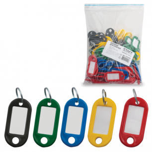 Брелоки для ключей STAFF эконом, КОМПЛЕКТ 100шт., длина 48мм, инфо-окно 28*15мм, ассорти, 235590