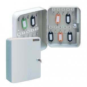 Шкафчик (Ключница)  на 20 ключей BRAUBERG 200*80*160 мм, с замком, +20 брелоков, серый, 290337