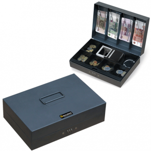 Ящик для денег, ценностей, документов, печатей BRAUBERG 80*195*290мм, код. замок, т-серый, 290457