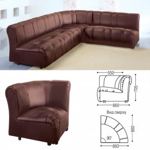 """Кресло мягкое (секция)  угловое """"Ригель"""" (ш860*г860*в705мм), без подлокотников, экокожа, коричневое"""