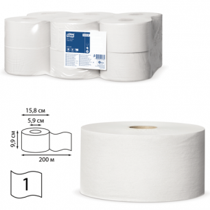 Бумага туалетная 200м, TORK (Система Т2), КОМПЛЕКТ 12шт, Universal, (диспенсер 600164), 120197