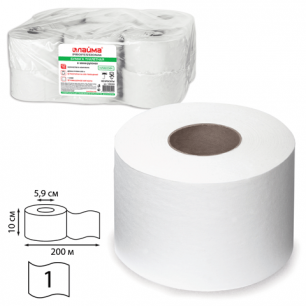 Бумага туалетная 200м, ЛАЙМА, КОМПЛЕКТ 12шт, классик, белая, (диспенсер 601427), 126093