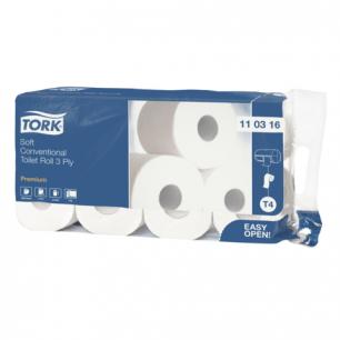 Бумага туалетная TORK (Т4), 3-х сл., спайка 8шт.х29,5м, Premium, (диспенсер 601826, 602945), 110316