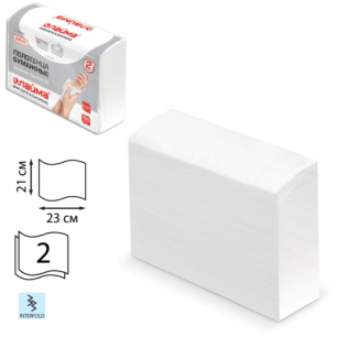 Полотенце бум. 190 шт, ЛАЙМА люкс, 2сл, белое, 23х21см (Interfold, ZZ, Multifold), 126559