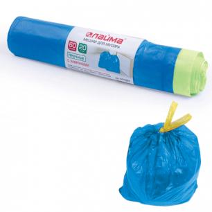 Мешки д/мусора 60л ЛАЙМА, КОМПЛЕКТ 20шт, рулон, ПНД, прочные, с завяз., 60*70см, 12мкм, синие, 601397