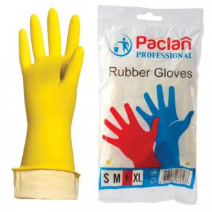 """Перчатки хоз. резиновые PACLAN """"Professional"""" с х/б напылением, размер L (большой), желтые, шк71657"""