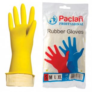 """Перчатки хоз. резиновые PACLAN """"Professional"""" с х/б напылением, размер S (малый), желтые, шк71633"""
