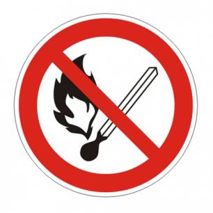 """Знак запрещающий """"Запрещ. пользов. открытым огнем и курить"""", круг диаметр 200мм, самокл, 610002/Р 02"""