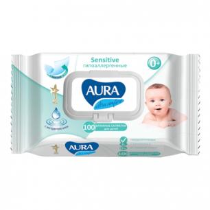 """Салфетки влажные для детей AURA """"Ultra comfort"""", 100шт, гипоаллергеннные, без спирта, крышка клапан"""