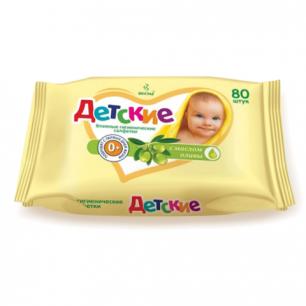 Салфетки влажные ВЕСНА Детские 80 шт., универсальные очищающие, с маслом оливы, 2369