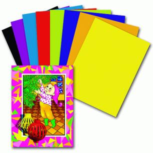 Цветная бумага А4 200*283мм ПИФАГОР 16л. 8цв., Гномик на празднике, 121008