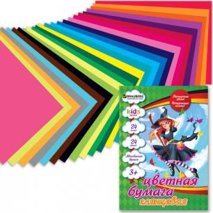 Цветная бумага А4 200*280мм BRAUBERG (детская серия), МЕЛОВАННАЯ, 24л, 24цв, Чародейка, 124783