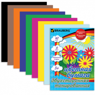 Цветная бумага А4 210*297мм BRAUBERG (детская серия), ДВУХСТОР.ТОНИР. 40л., 8цв, склейка, 124714