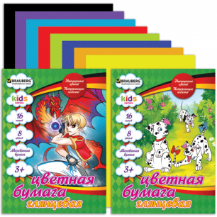 Цветная бумага А4 200*280мм BRAUBERG (детская серия), МЕЛОВАННАЯ, 16л, 8цв, (2 вида), 124782