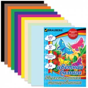 Цветная бумага А4 210*297мм BRAUBERG (детская серия), ДВУХСТОР.ТОНИР. 100л.10цв.склейка, 124715