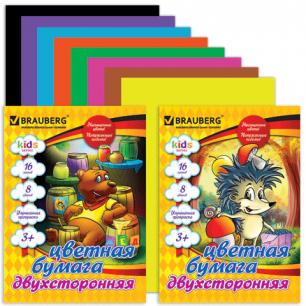 Цветная бумага А4 200*275мм BRAUBERG (детская серия), ДВУХСТОРОН. бл.офсет, 16л, 8цв, (2 вида), 124780