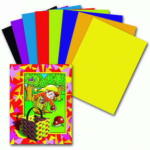 Цветная бумага А4 200*283мм ПИФАГОР 16л. 8цв., Гномик-грибник, 121006