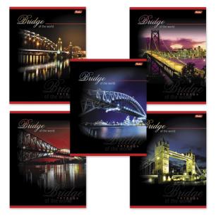 """Тетрадь 80л. """"Хатбер"""", кл., выборочный лак, Bridge (Мосты), 80Т5вмС1 (T70512)"""