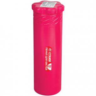 Пенал-тубус для кистей СТАММ пластиковый, 210х65мм, 3 цвета ассорти (голубой, бордов, розоый), ПН70