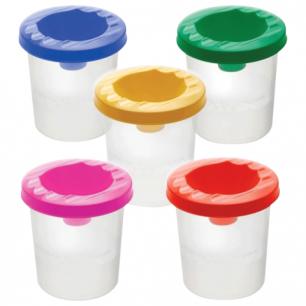 Стакан-непроливайка СТАММ 5 цветов ассорти (красный, желтый, зеленый, синий, фиолетовый), СН41