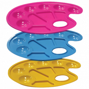 Палитра для рисования СТАММ пластиковая, овальная, 6отд. для красок и 4отд. для смеш., ассорти, ПА10