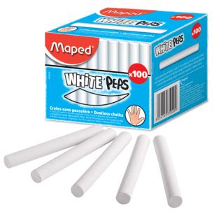 """Мелки MAPED (Франция), НАБОР 100шт., белые, круглые, специальная формула """"без пыли"""", 935020"""