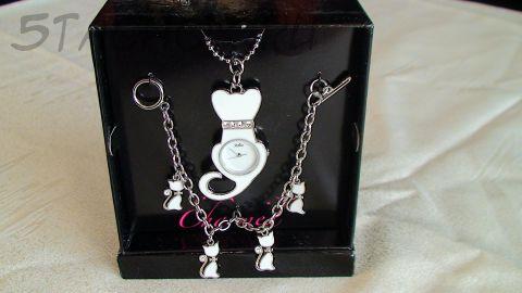 Часы женские кулон с цепочкой и браслет с котятами белый