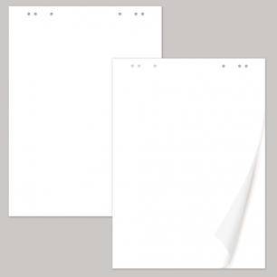 Блокноты для флипчарта BRAUBERG, комплект 5 шт., 20 л., чистые, 67,5х98 см, 80 г/м2, 124098