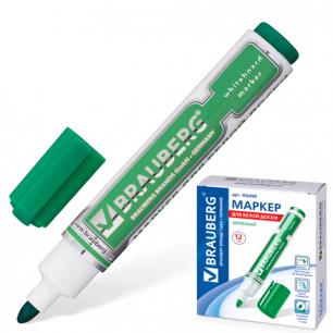 """Маркер для доски BRAUBERG """"Neo"""", с клипом, круглый наконечник 5 мм, зеленый, 150490"""